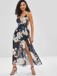 عارية الذراعين شق فستان ماكسي الأزهار - منتصف الليل الأزرق M