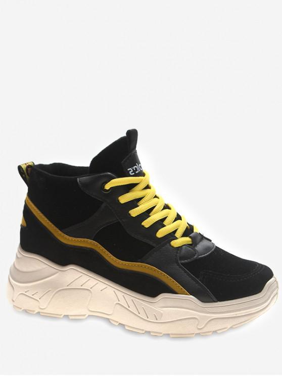 ladies Mid Top Platform Sneakers - YELLOW EU 36