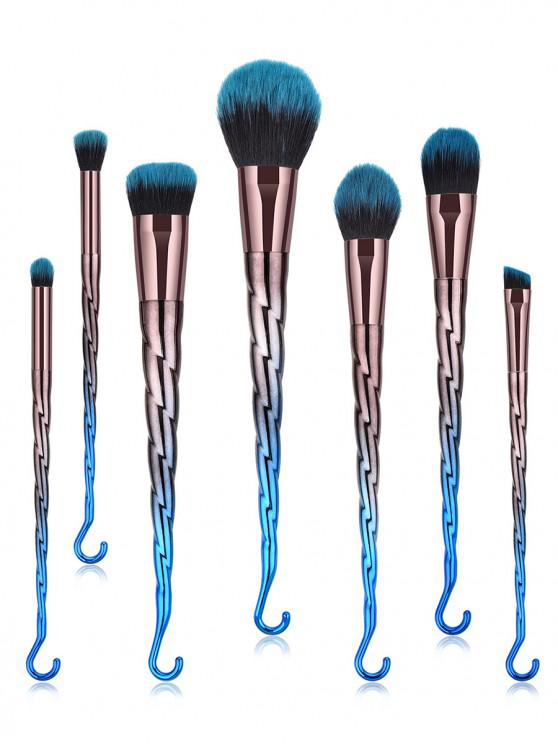 unique Spiral Design Makeup Brushes Set - PEACOCK BLUE