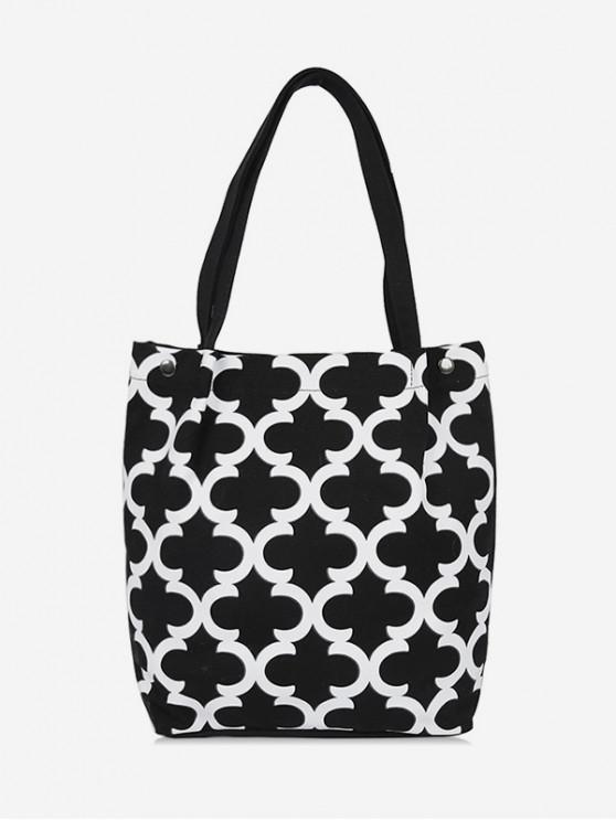 outfit Canvas Letter C Pattern Shoulder Bag - BLACK