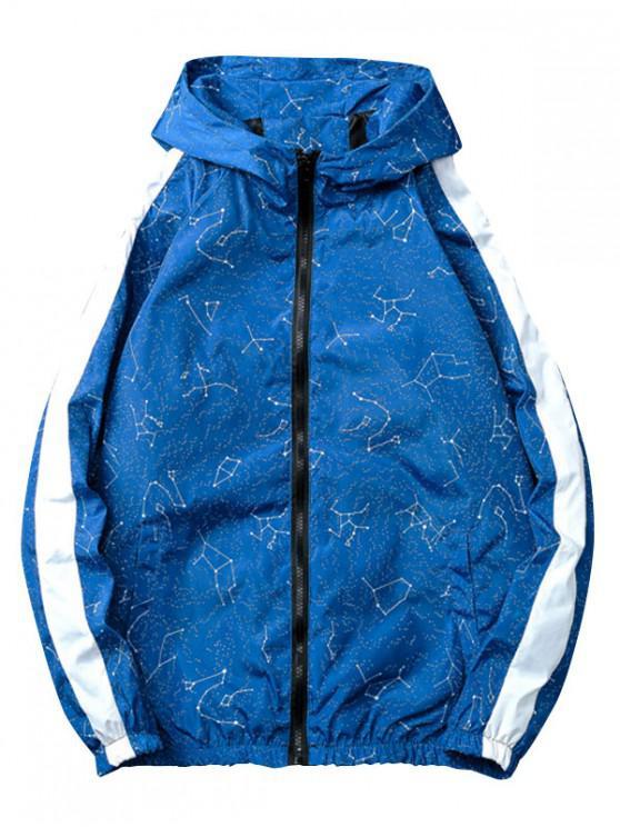 lady Constellations Stripe Print Zipper Jacket - BLUE M