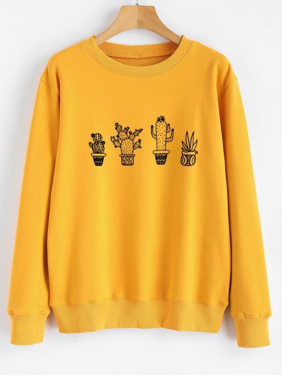 trendy Cactus Graphic Sweatshirt - BRIGHT YELLOW 2XL