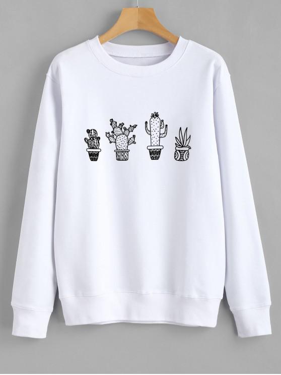 fancy Cactus Graphic Sweatshirt - WHITE XL
