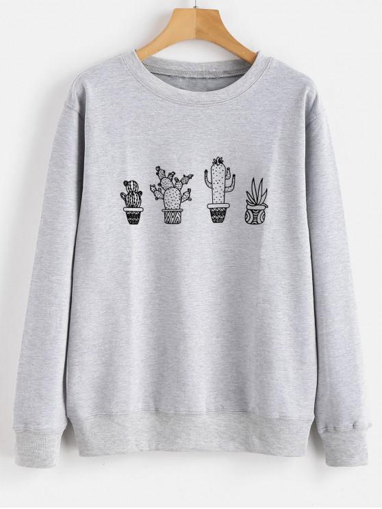 fashion Cactus Graphic Sweatshirt - GRAY CLOUD 2XL