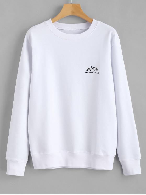 women's Moon Mountains Graphic Sweatshirt - WHITE XL