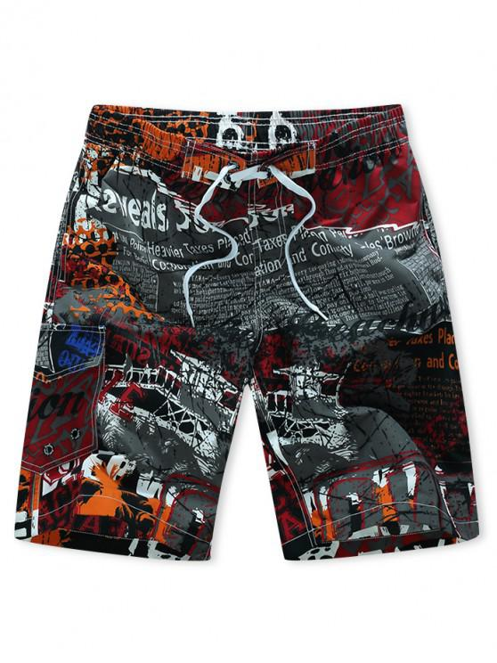 unique Letters Painting Print Drawstring Board Shorts - RED XS