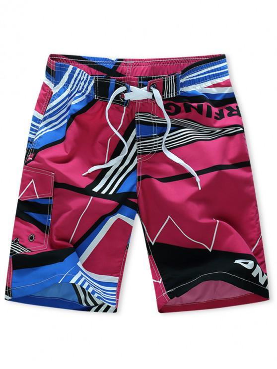 ladies Striped Geometry Print Elastic Drawstring Board Shorts - ROSE RED XS