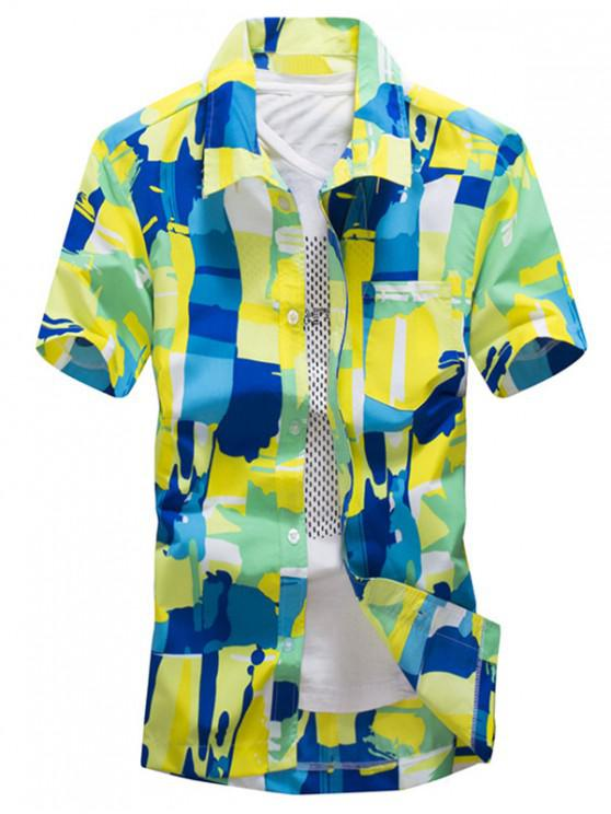 women's Colorful Abstract Painting Print Casusal Short Sleeves Shirt - YELLOW XS