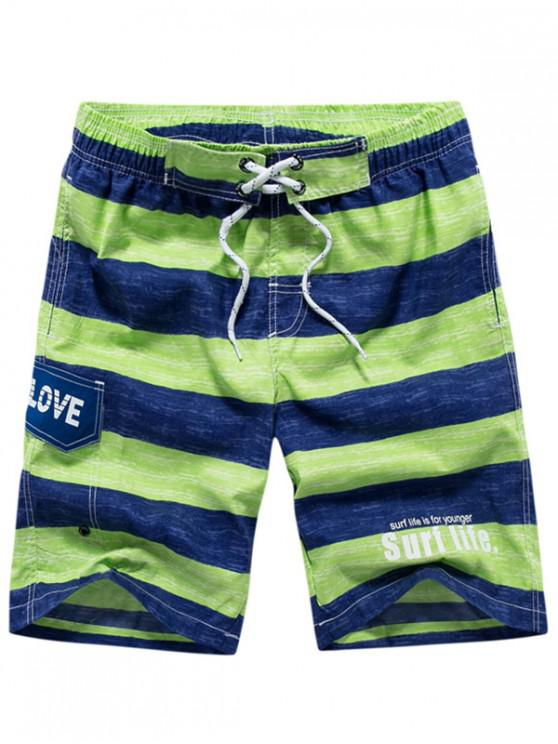 affordable Lettes Print Stripes Drawstring Beach Shorts - GREEN XS