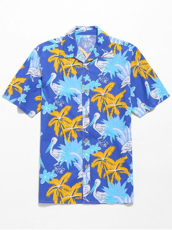latest Hawaii Coconut Trees Floral Print Casaul Short Sleeves Shirt - BLUE S