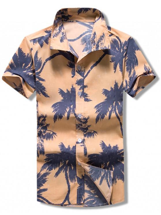 online Short Sleeves Coconut Palms Print Casaul Shirt - MULTI XL