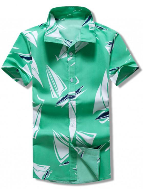hot Short Sleeves Geometric Print Casual Shirt - MULTI XL