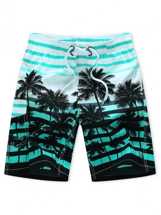 Pantalones cortos de playa con cordón y estampado de rayas de árbol de coco - Celeste M