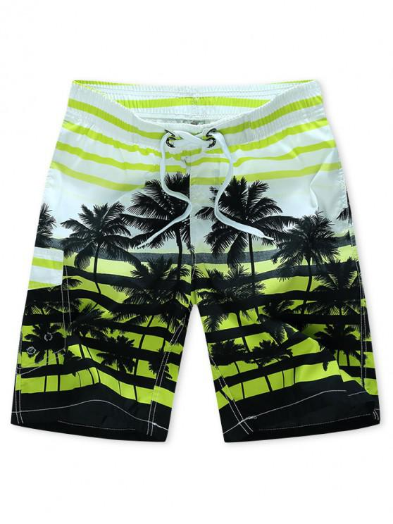 unique Coconut Tree Stripes Print Drawstring Beach Shorts - GREEN YELLOW XS