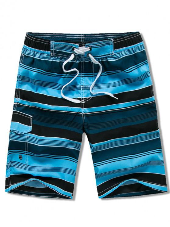 new Side Pocket Stripes Print Drawstring Beach Shorts - LAPIS BLUE XS