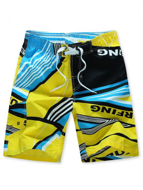online Striped Geometry Print Elastic Drawstring Board Shorts - YELLOW XL