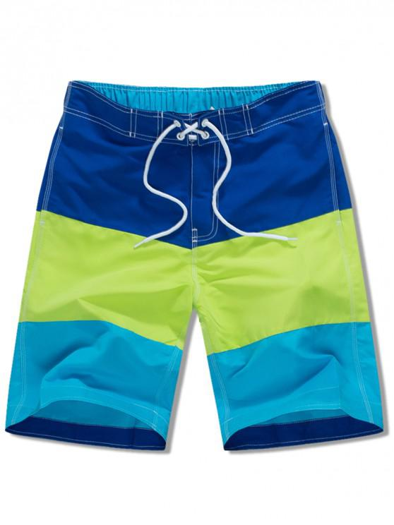 chic Elastic Drawstring Panel Beach Shorts - BLUE XS