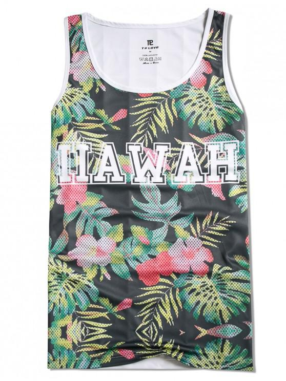 hot Leaves Letters Printed Casual Tank Top - MULTI S