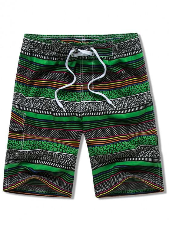 ladies Stripes Print Drawstring Board Shorts - GREEN XS