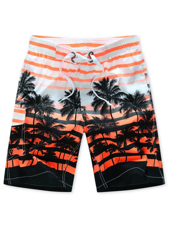 womens Coconut Tree Stripes Print Drawstring Beach Shorts - ORANGE XS
