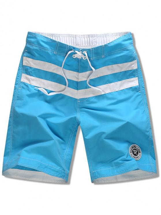 lady Striped Applique Drawsrting Board Shorts - LIGHT BLUE XS