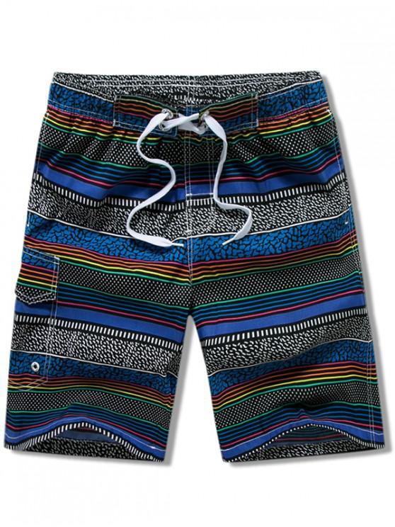 outfits Stripes Print Drawstring Board Shorts - BLUE XS