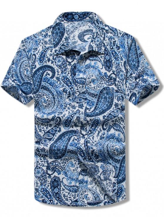 Freizeithemd mit Paisley-Print, kurzen Ärmeln - Blau M