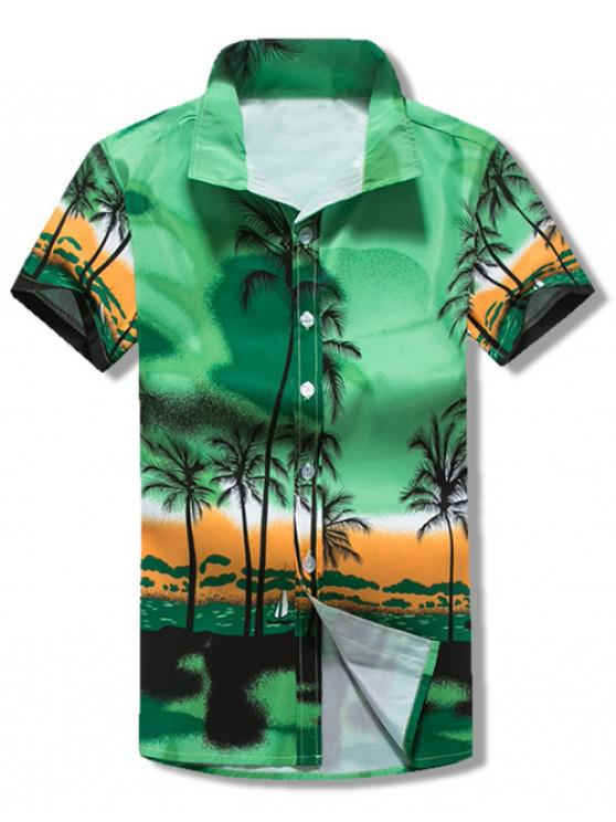 outfits Short Sleeves Coconut Trees Scenery Print Hawaii Beach Shirt - GREEN XS