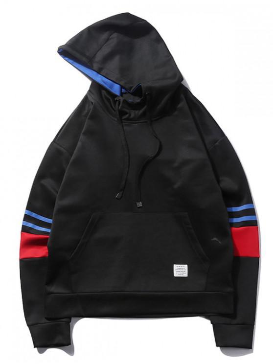 Sudadera con capucha a rayas color block - Negro 2XL