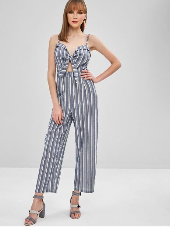 womens Striped Bunny Tie Cami Wide Leg Jumpsuit - MULTI M
