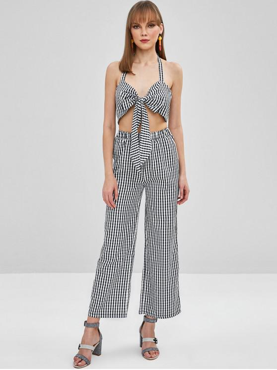 ladies ZAFUL Knotted Gingham Top and Loose Pants Set - BLACK M