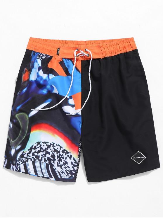 best Applique Painting Print Drawstring Beach Shorts - BLACK XS