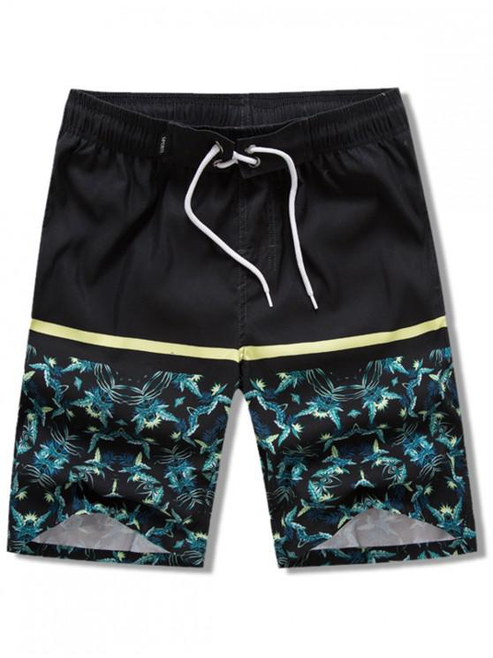 outfits Plants Leaves Print Elastic Drawstring Beach Shorts - BLACK 2XL