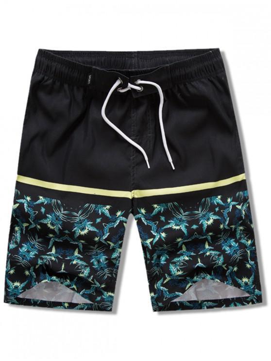 Plantas Hojas Estampado Elástico Cordón Pantalones cortos de playa - Negro XL