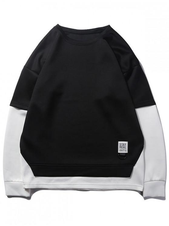lady Contrast False Two Piece Sweatshirt - BLACK XS