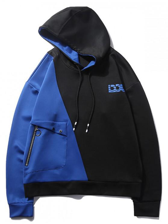 trendy Logo Pocket Color Block Hoodie - BLUEBERRY BLUE S
