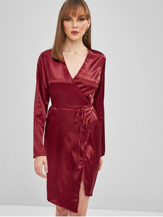 affordable Lustrous Wrap Party Dress - RED WINE L