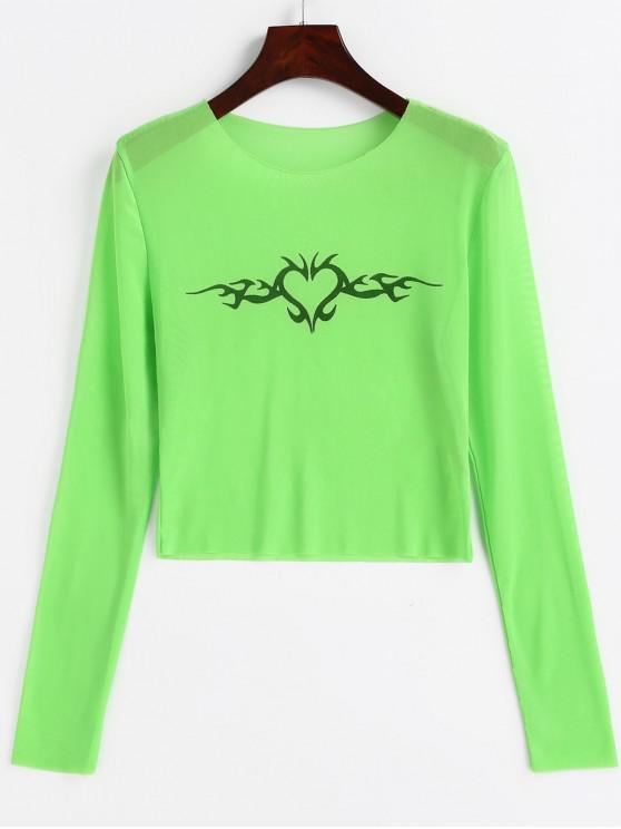 lady Graphic Sheer Mesh Cropped Neon Tee - GREEN M