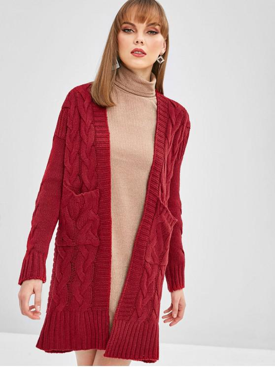 trendy Cable Knit Drop Shoulder Pocket Cardigan - RED ONE SIZE