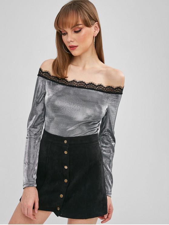 shop Snap Crotch Metallic Off The Shoulder Bodysuit - SILVER S