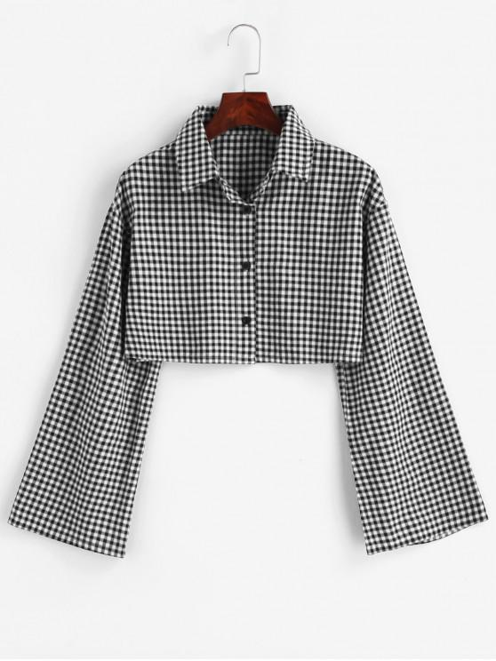 trendy Gingham Bell Sleeve Cropped Shirt - GRAY L