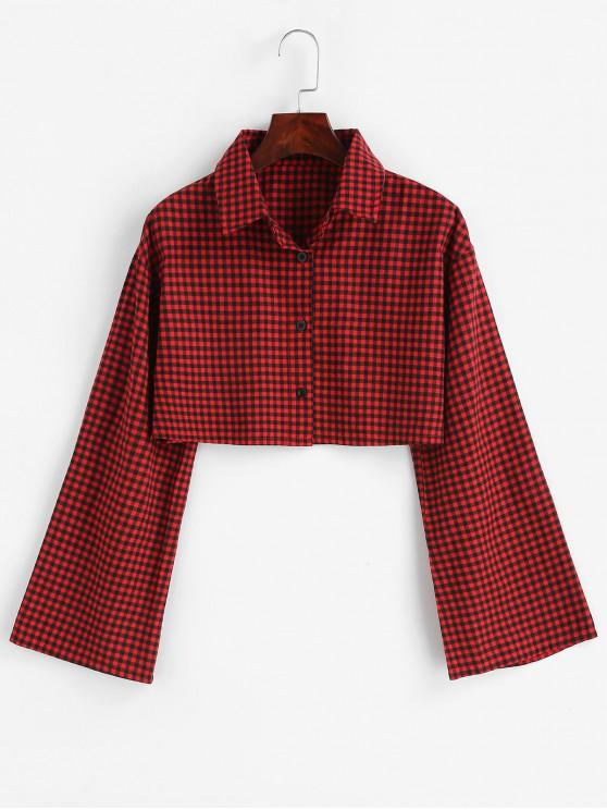 hot Gingham Bell Sleeve Cropped Shirt - RED WINE L