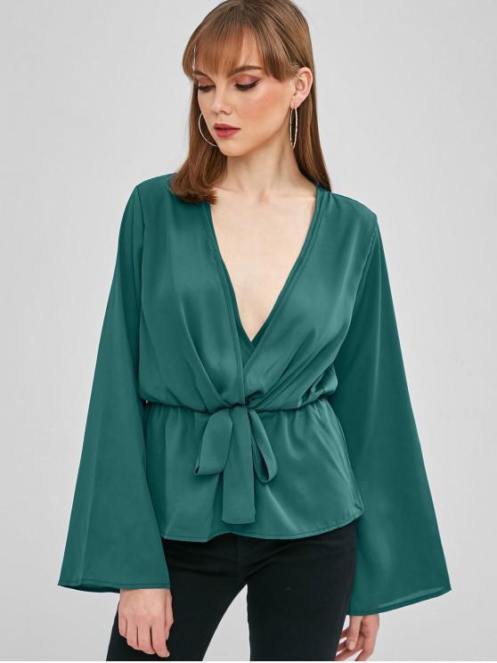 trendy Bell Sleeve Crossover Tie Waist Peplum Top - GREENISH BLUE S