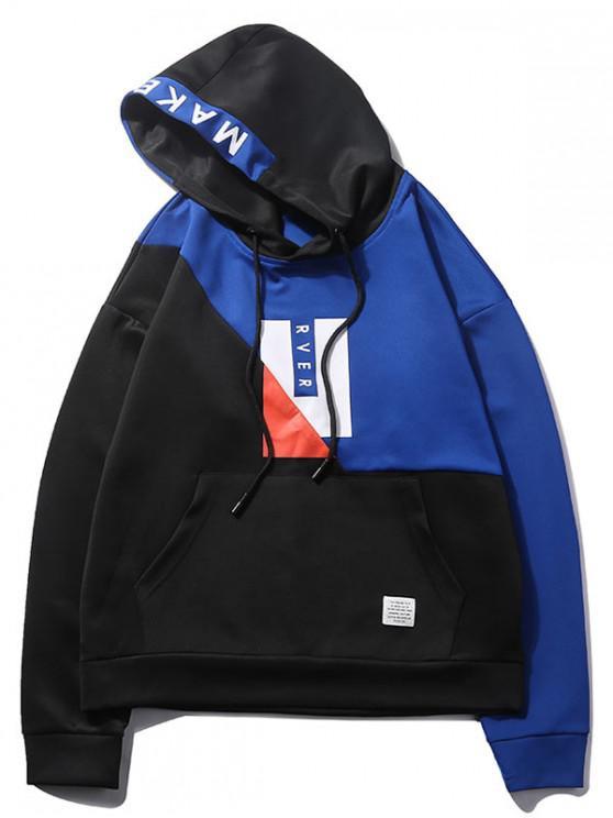 Farbblock-Buchstabe-grafischer Taschen-Hoodie - Schwarz XS