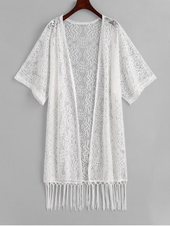 womens Fringed Crochet Kimono Cover-up - WHITE L
