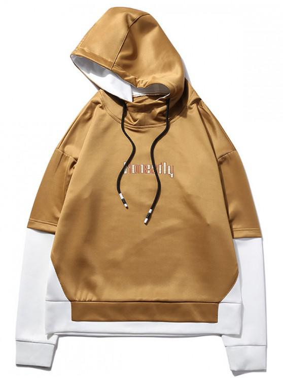 Sudadera con capucha de dos piezas con gráfico falso - Canela XL