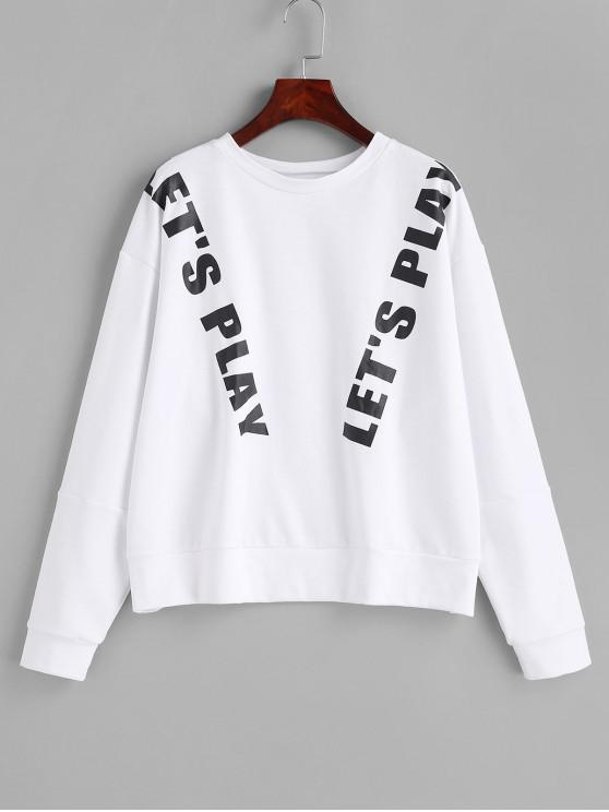 best Letter Graphic Loose Sweatshirt - MILK WHITE ONE SIZE
