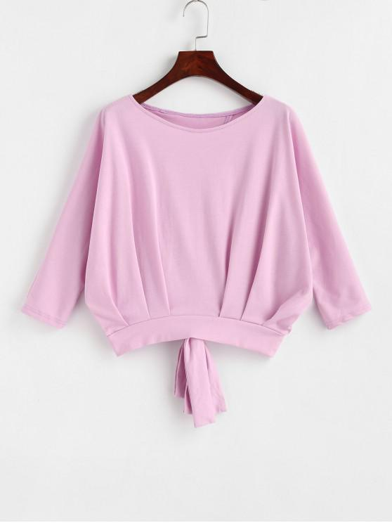 outfit Cut Out Knotted Batwing Tee - BLUSH PINK ONE SIZE