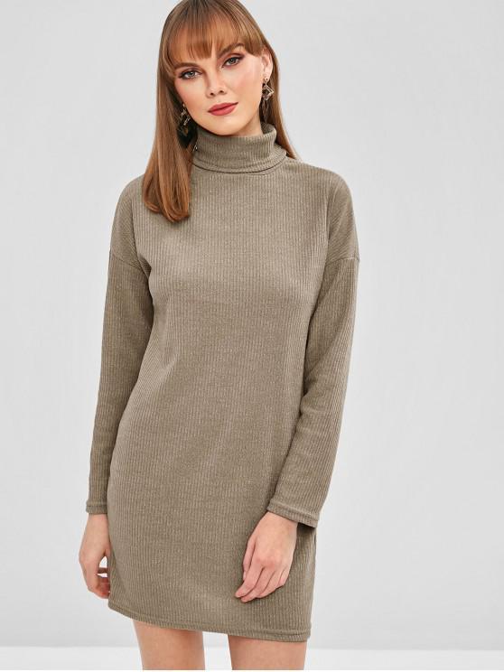 new Drop Shoulder Turtleneck Ribbed Knit Dress - KHAKI M