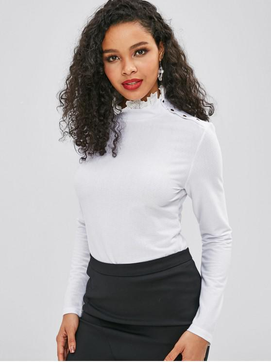 ladies Long Sleeve Knit Ruff Collar Tee - WHITE XL